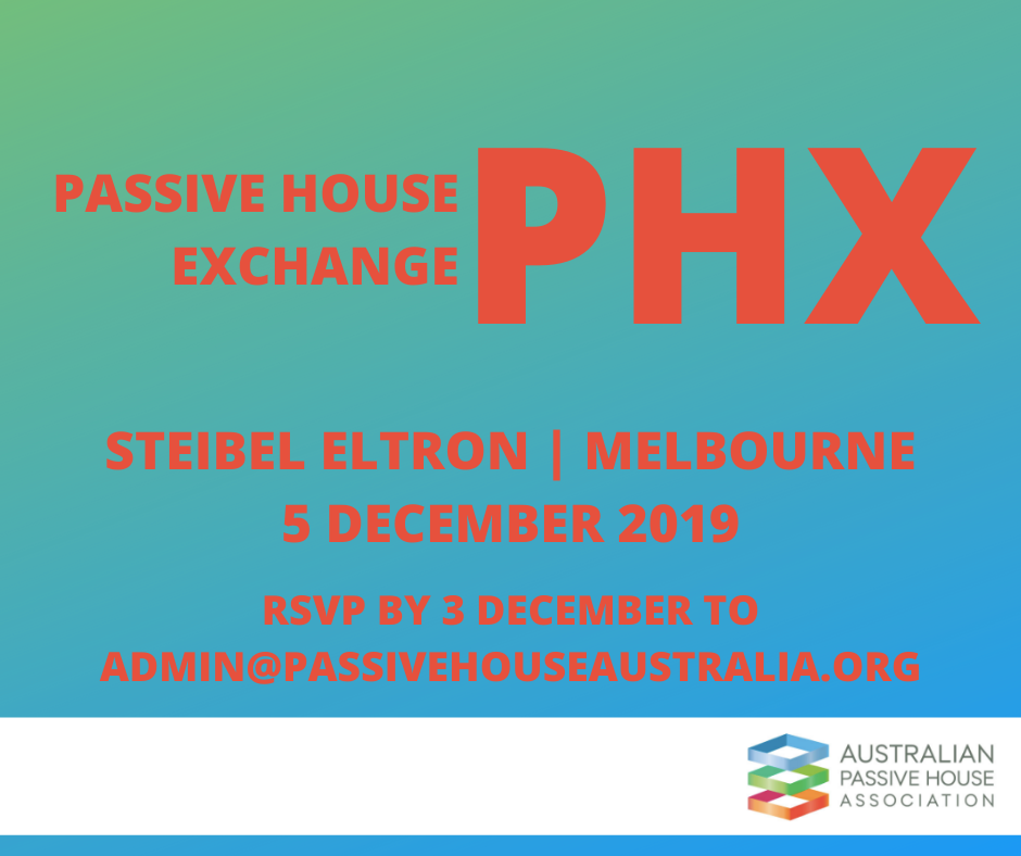 PH Exchange event Melbourne details in red font and blue green background